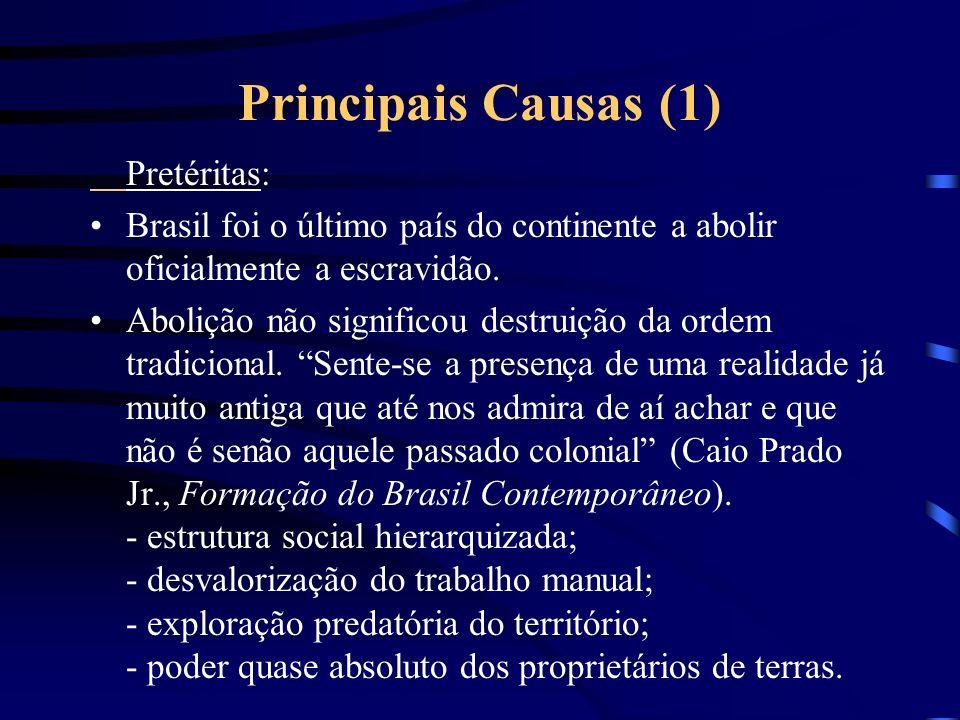 Principais Causas (1) Pretéritas: Brasil foi o último país do continente a abolir oficialmente a escravidão.