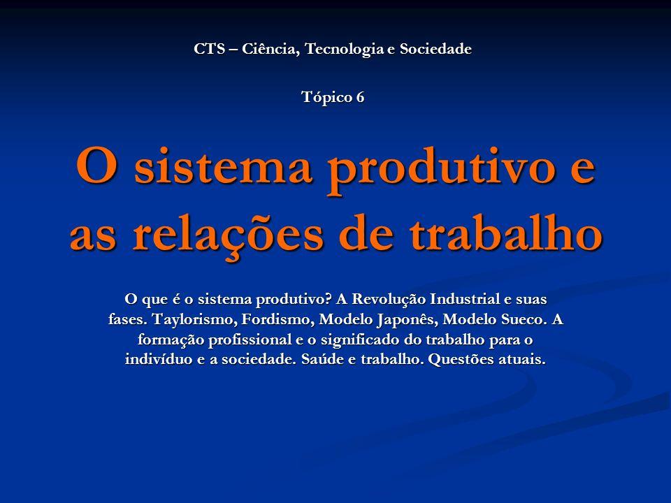 O sistema produtivo e as relações de trabalho O que é o sistema produtivo? A Revolução Industrial e suas fases. Taylorismo, Fordismo, Modelo Japonês,