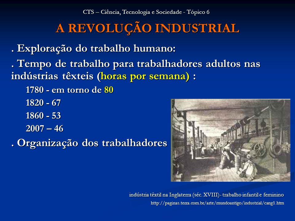 A REVOLUÇÃO INDUSTRIAL. Exploração do trabalho humano:. Tempo de trabalho para trabalhadores adultos nas indústrias têxteis (horas por semana) : 1780