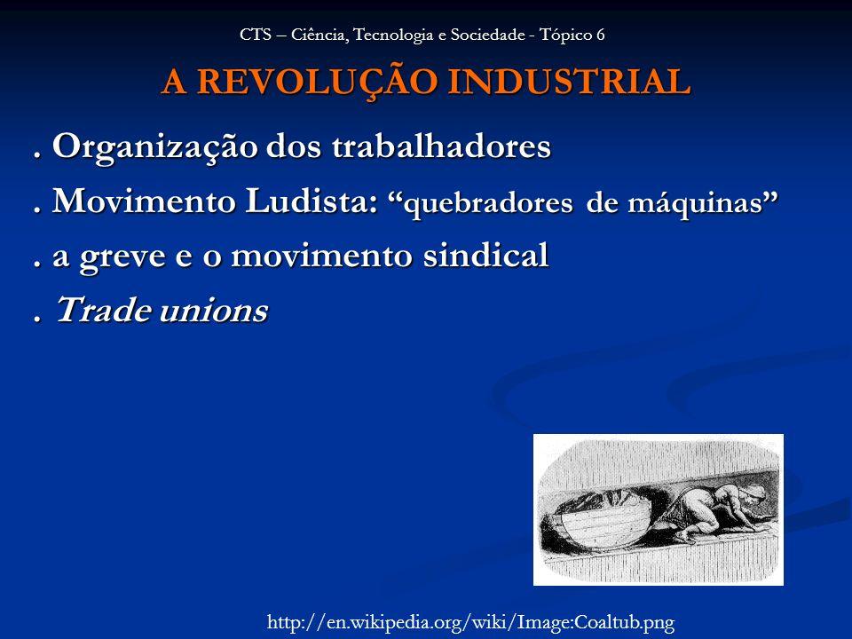 A REVOLUÇÃO INDUSTRIAL. Organização dos trabalhadores. Movimento Ludista: quebradores de máquinas. a greve e o movimento sindical. Trade unions CTS –