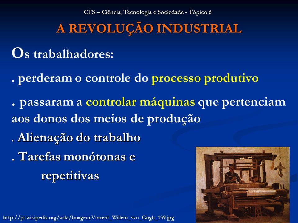 A REVOLUÇÃO INDUSTRIAL O s trabalhadores:. perderam o controle do processo produtivo. passaram a controlar máquinas que pertenciam aos donos dos meios