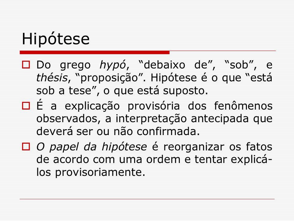 Hipótese Do grego hypó, debaixo de, sob, e thésis, proposição. Hipótese é o que está sob a tese, o que está suposto. É a explicação provisória dos fen