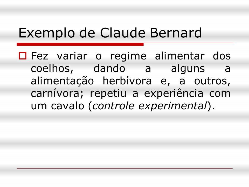 Exemplo de Claude Bernard Fez variar o regime alimentar dos coelhos, dando a alguns a alimentação herbívora e, a outros, carnívora; repetiu a experiên