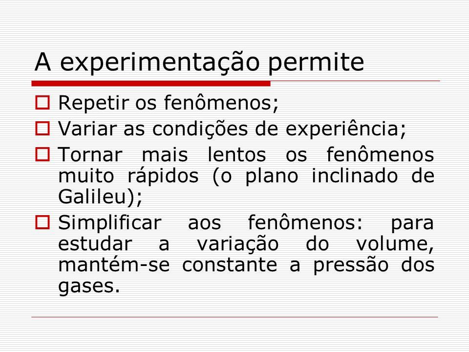 A experimentação permite Repetir os fenômenos; Variar as condições de experiência; Tornar mais lentos os fenômenos muito rápidos (o plano inclinado de