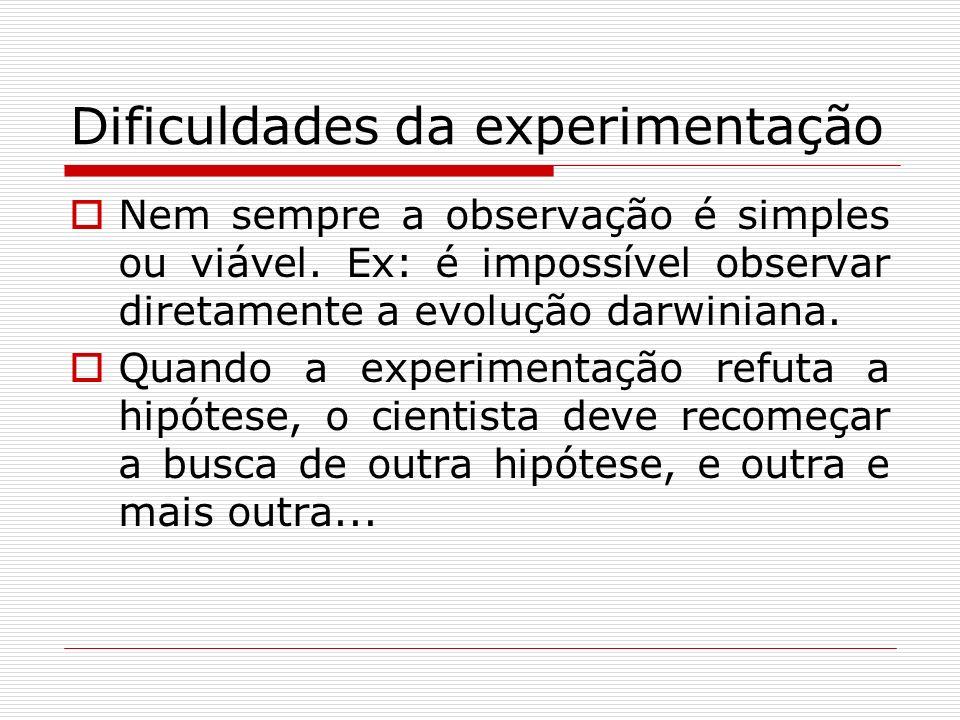 Dificuldades da experimentação Nem sempre a observação é simples ou viável. Ex: é impossível observar diretamente a evolução darwiniana. Quando a expe