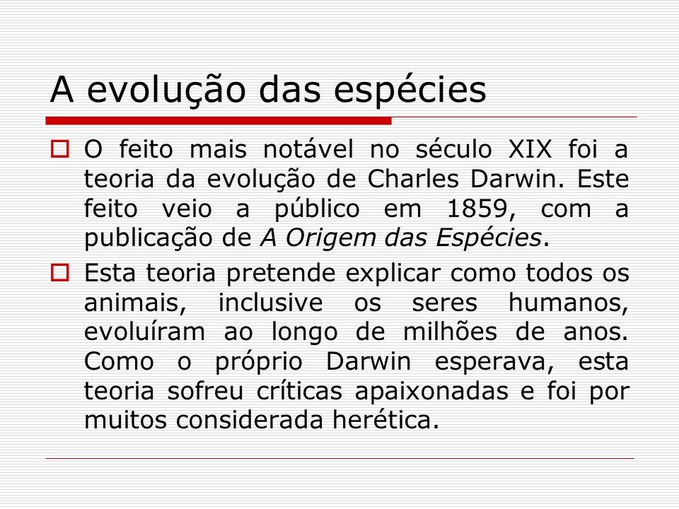 A evolução das espécies O feito mais notável no século XIX foi a teoria da evolução de Charles Darwin. Este feito veio a público em 1859, com a public