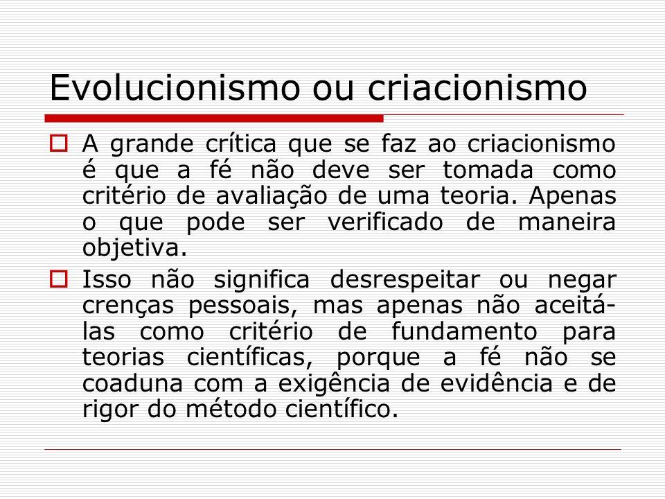 Evolucionismo ou criacionismo A grande crítica que se faz ao criacionismo é que a fé não deve ser tomada como critério de avaliação de uma teoria. Ape