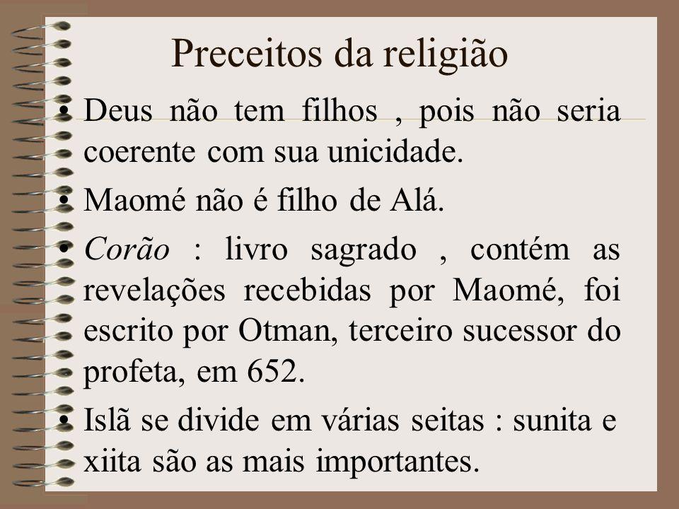 A DIFUSÃO DO ISLAMISMO Maomé unificou quase todas as tribos árabes existentes na Península Arábica,em torno da fé em Alá, o deus único.