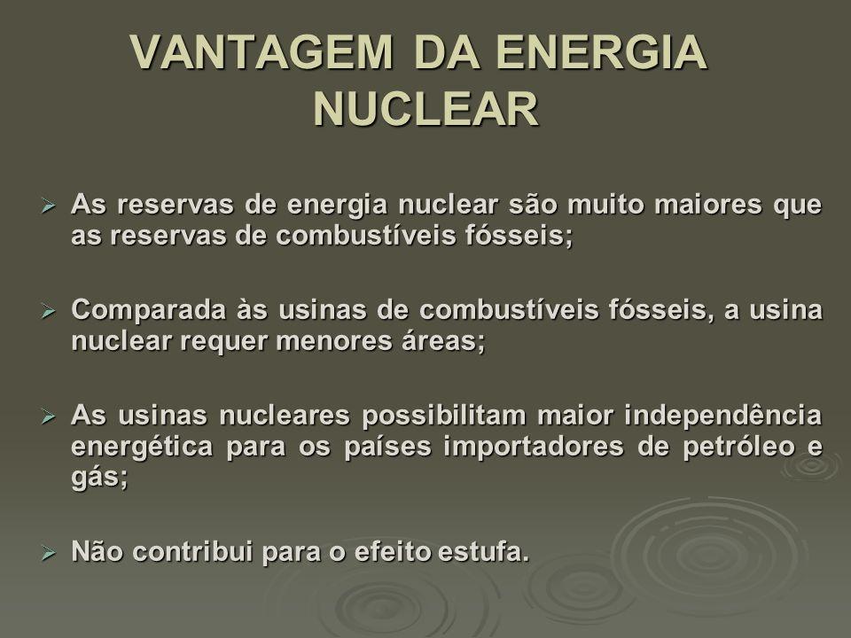 VANTAGEM DA ENERGIA NUCLEAR VANTAGEM DA ENERGIA NUCLEAR 1 pastilha urânio 564 Litros Petróleo 807 Kg Carvão mineral Lixo radioativo dura 10.000 anos