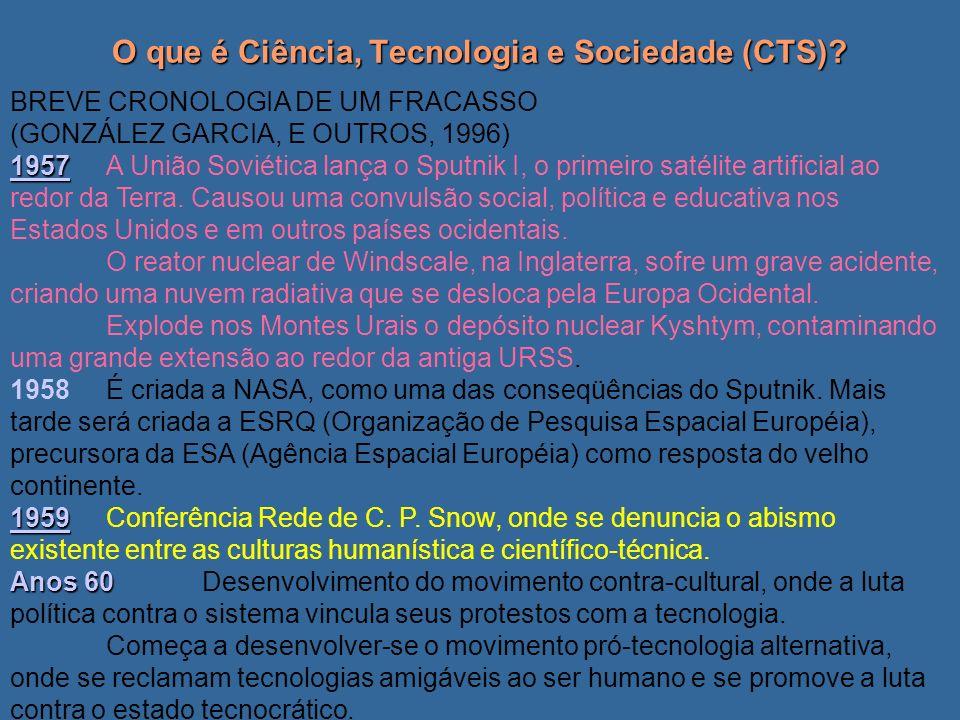 O que é Ciência, Tecnologia e Sociedade (CTS)? BREVE CRONOLOGIA DE UM FRACASSO (GONZÁLEZ GARCIA, E OUTROS, 1996) 1957 1957A União Soviética lança o Sp