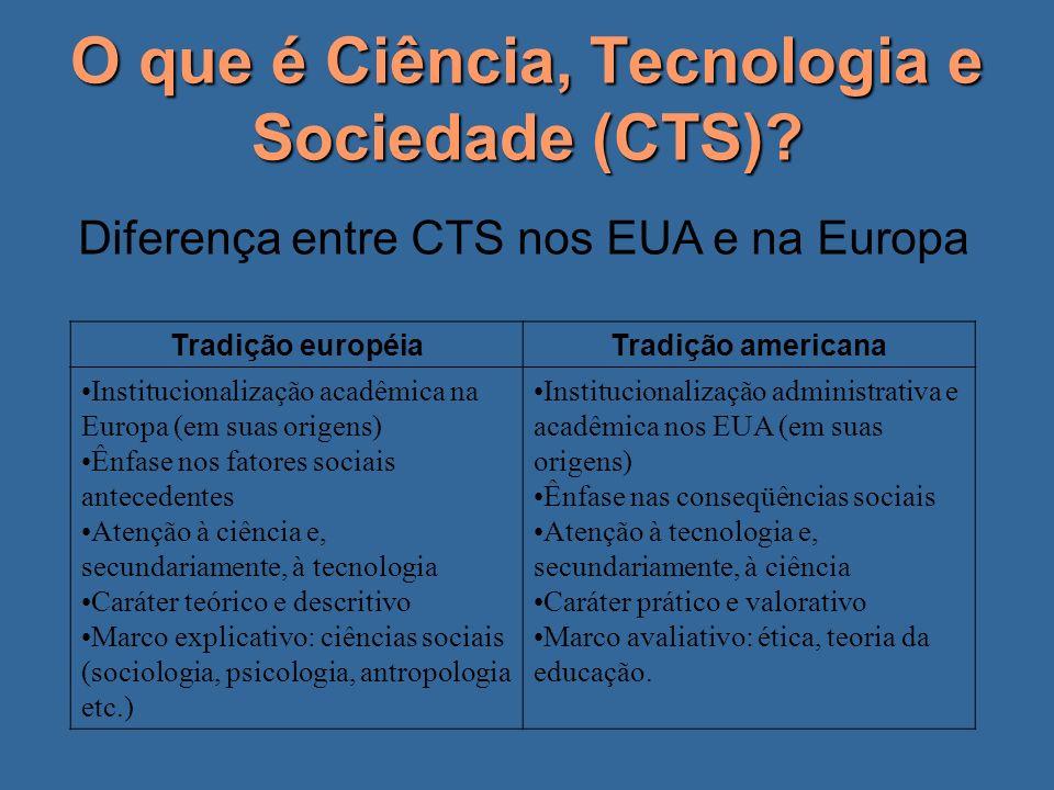 O que é Ciência, Tecnologia e Sociedade (CTS)? Diferença entre CTS nos EUA e na Europa Tradição européiaTradição americana Institucionalização acadêmi