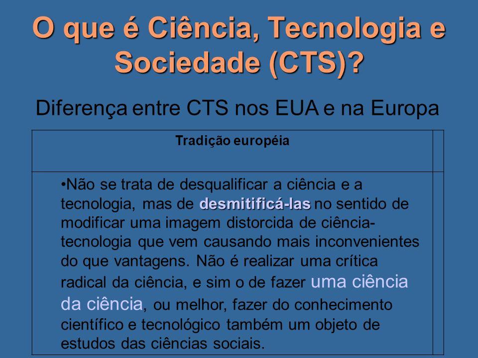 O que é Ciência, Tecnologia e Sociedade (CTS)? Diferença entre CTS nos EUA e na Europa Tradição européia desmitificá-lasNão se trata de desqualificar