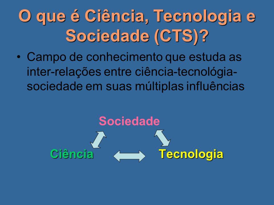 O que é Ciência, Tecnologia e Sociedade (CTS)? Campo de conhecimento que estuda as inter-relações entre ciência-tecnológia- sociedade em suas múltipla