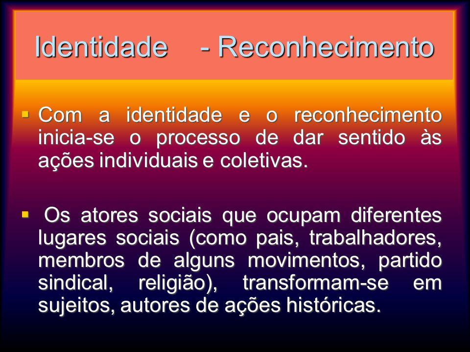 Identidade - Reconhecimento Com a identidade e o reconhecimento inicia-se o processo de dar sentido às ações individuais e coletivas. Com a identidade
