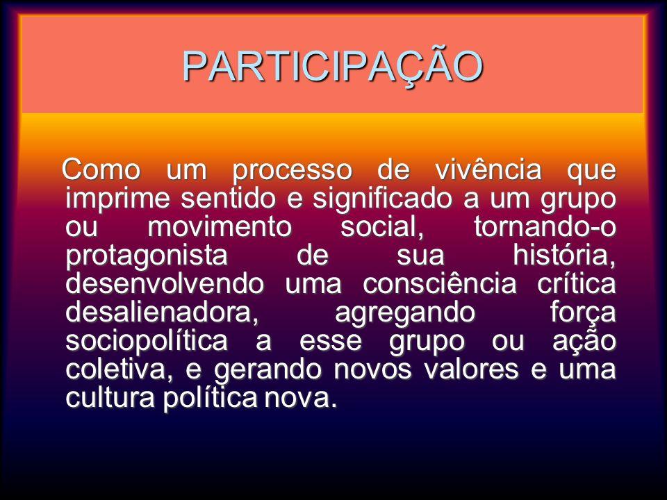 PARTICIPAÇÃO Como um processo de vivência que imprime sentido e significado a um grupo ou movimento social, tornando-o protagonista de sua história, d