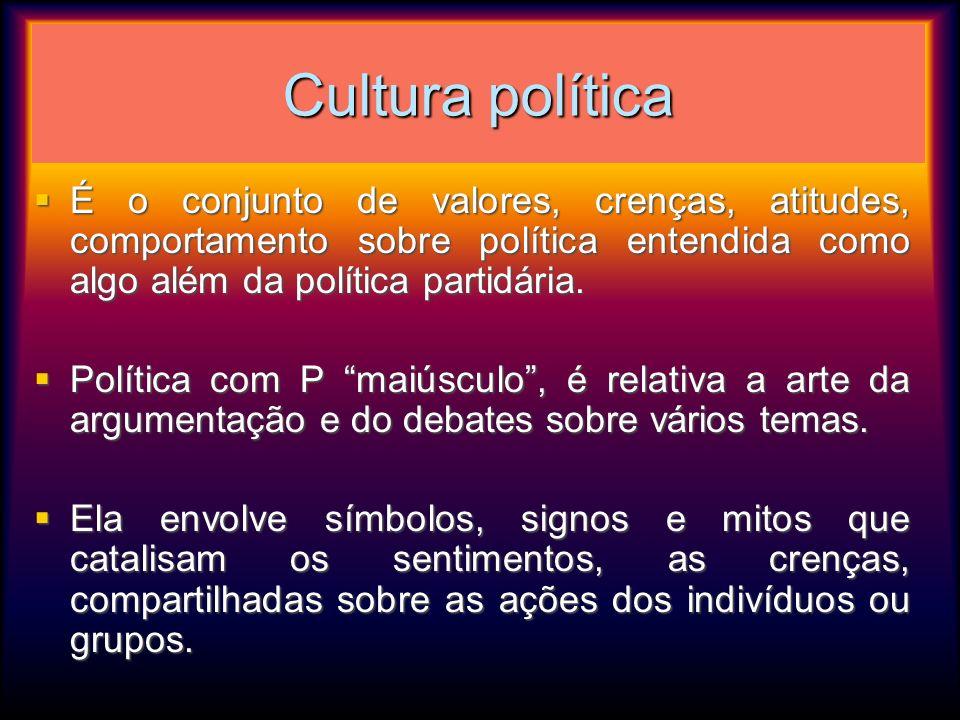 Cultura política É o conjunto de valores, crenças, atitudes, comportamento sobre política entendida como algo além da política partidária. É o conjunt