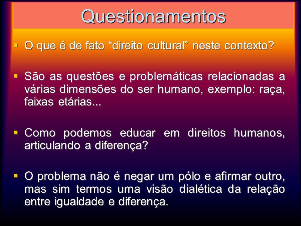 Questionamentos O que é de fato direito cultural neste contexto? O que é de fato direito cultural neste contexto? São as questões e problemáticas rela