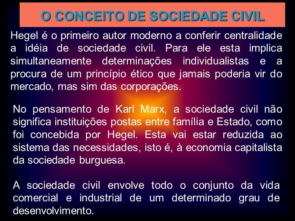 O CONCEITO DE SOCIEDADE CIVIL Hegel é o primeiro autor moderno a conferir centralidade a idéia de sociedade civil. Para ele esta implica simultaneamen