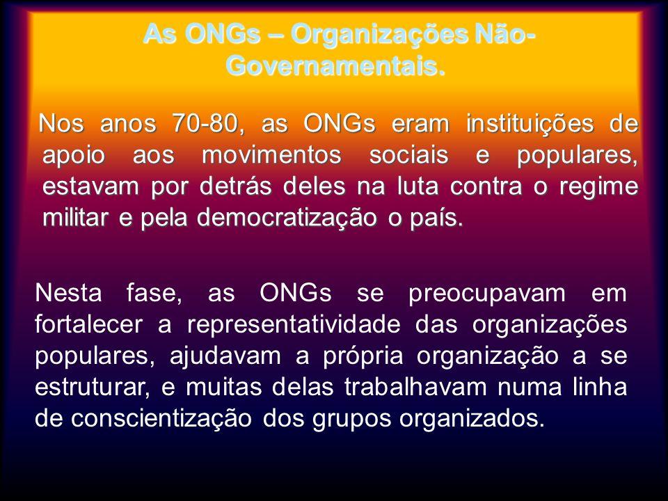 As ONGs – Organizações Não- Governamentais. As ONGs – Organizações Não- Governamentais. Nos anos 70-80, as ONGs eram instituições de apoio aos movimen
