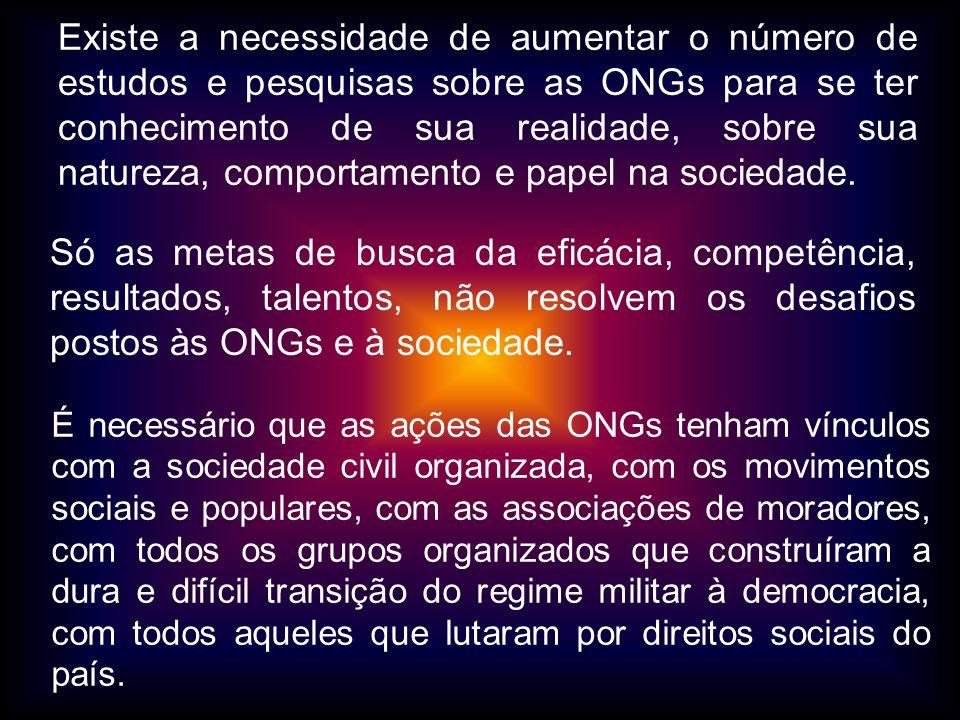 Existe a necessidade de aumentar o número de estudos e pesquisas sobre as ONGs para se ter conhecimento de sua realidade, sobre sua natureza, comporta