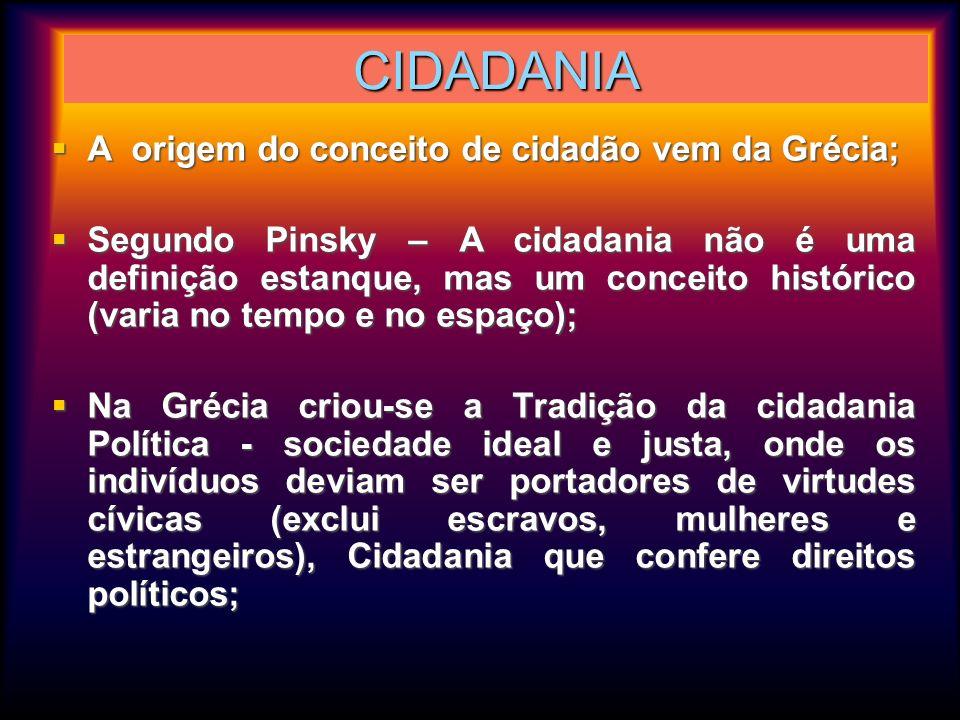 CIDADANIA A origem do conceito de cidadão vem da Grécia; A origem do conceito de cidadão vem da Grécia; Segundo Pinsky – A cidadania não é uma definiç