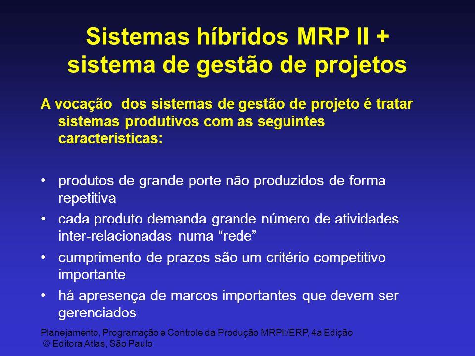Planejamento, Programação e Controle da Produção MRPII/ERP, 4a Edição © Editora Atlas, São Paulo Sistemas híbridos MRP II + sistema de gestão de proje