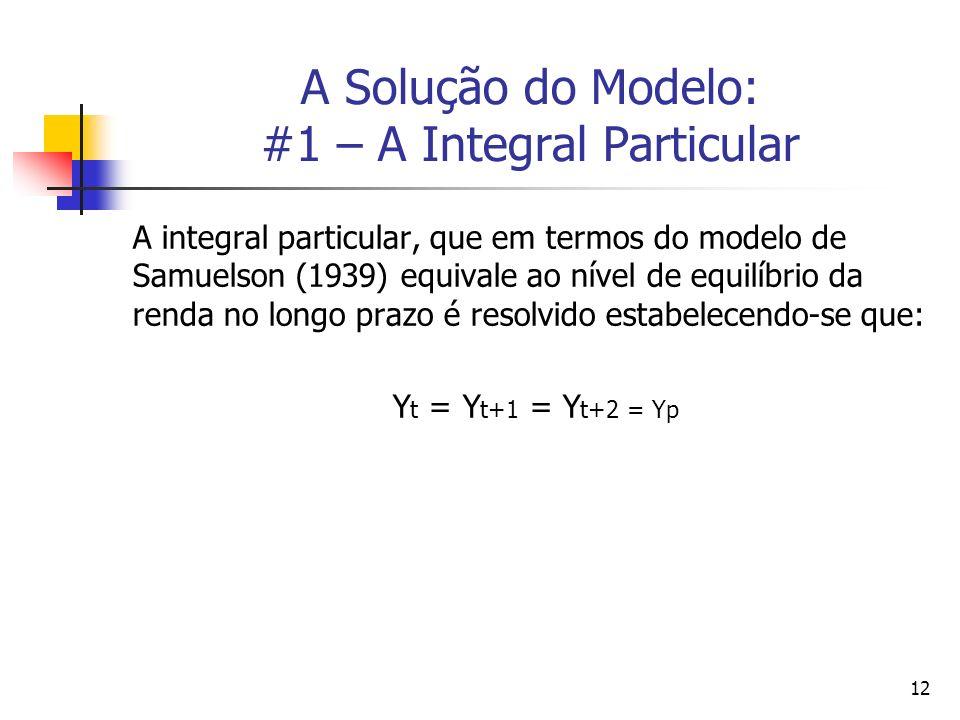 12 A Solução do Modelo: #1 – A Integral Particular A integral particular, que em termos do modelo de Samuelson (1939) equivale ao nível de equilíbrio