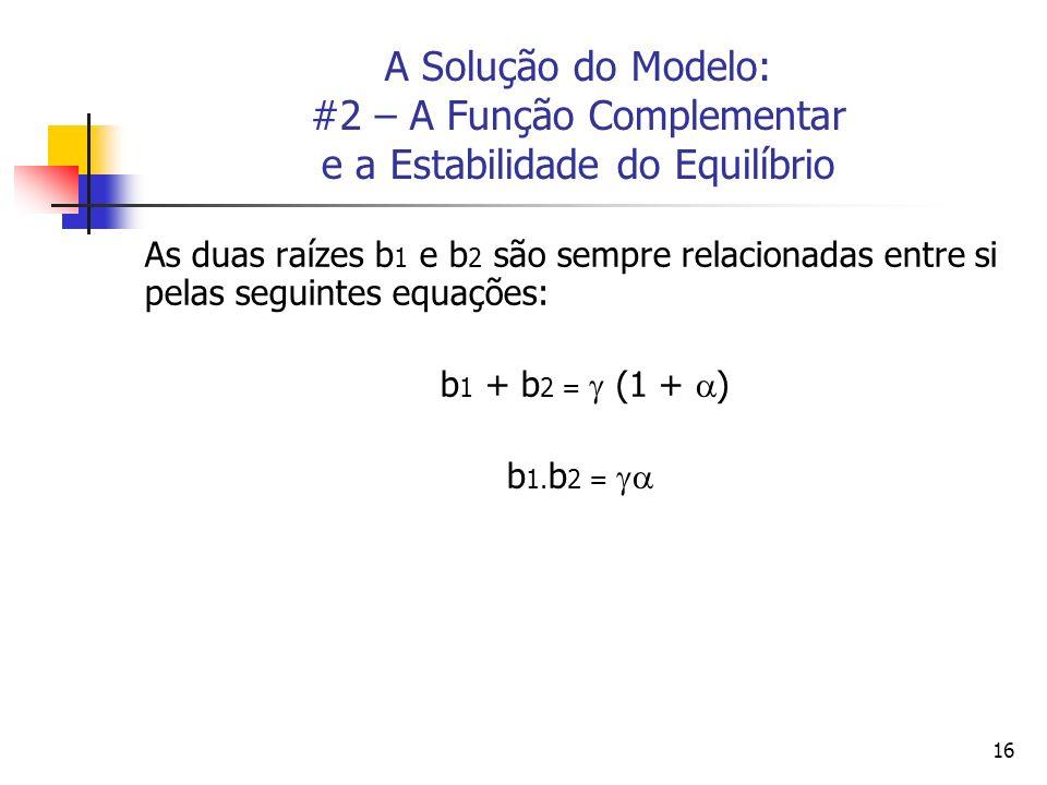 16 A Solução do Modelo: #2 – A Função Complementar e a Estabilidade do Equilíbrio As duas raízes b 1 e b 2 são sempre relacionadas entre si pelas segu