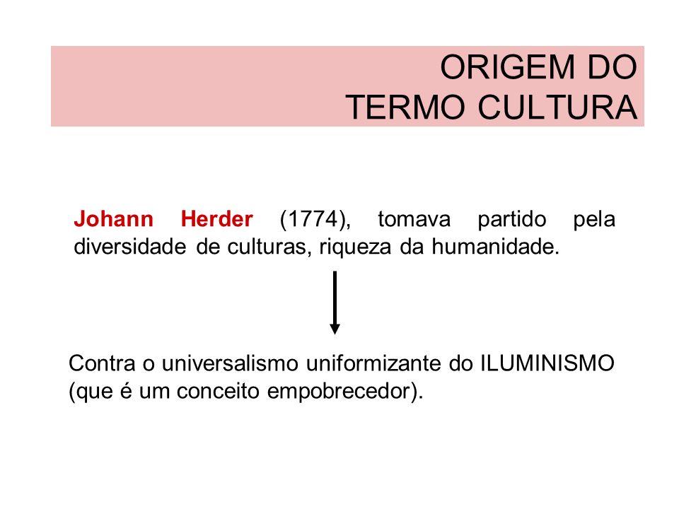 ORIGEM DO TERMO CULTURA Johann Herder é considerado, então, o precursor do conceito RELATIVISTA de cultura.