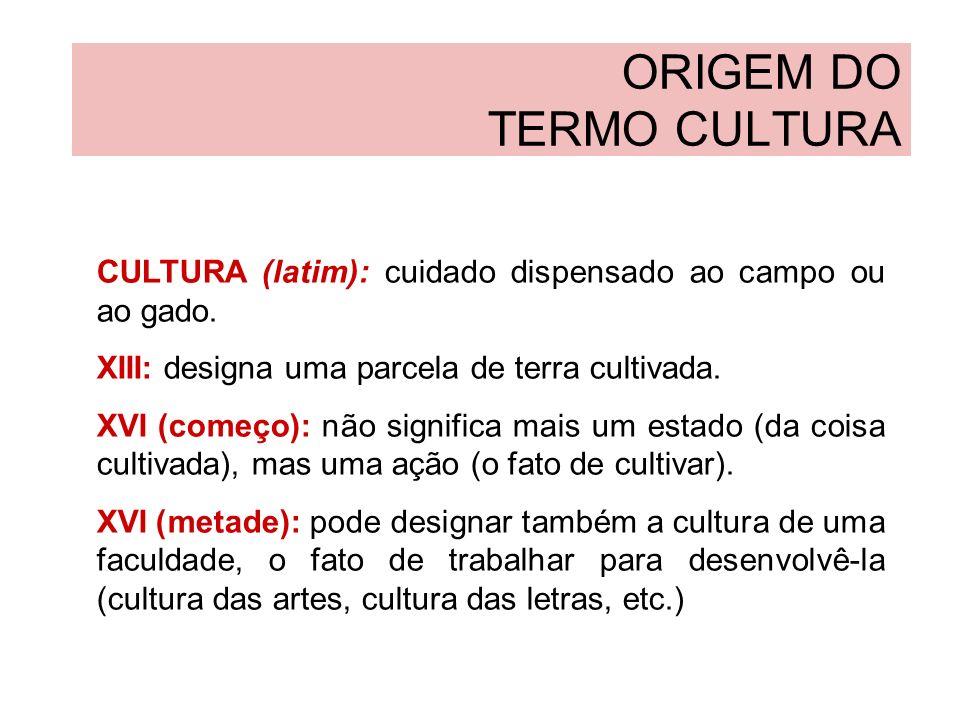 ORIGEM DO TERMO CULTURA ILUMINISMO (século XVIII): fala-se do estado do indivíduo que tem cultura, estigmatizando um espírito natural e sem cultura.
