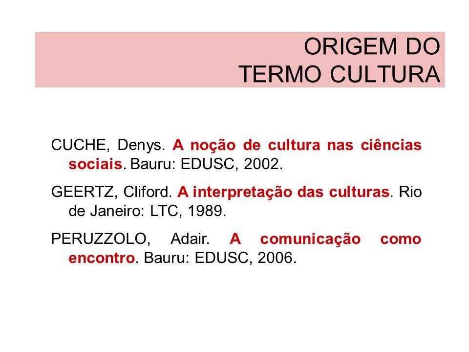 ORIGEM DO TERMO CULTURA CUCHE, Denys. A noção de cultura nas ciências sociais. Bauru: EDUSC, 2002. GEERTZ, Cliford. A interpretação das culturas. Rio