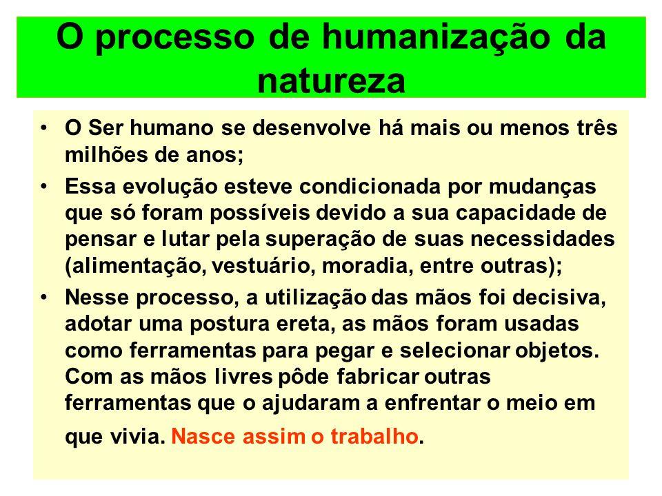 O processo de humanização da natureza O Ser humano se desenvolve há mais ou menos três milhões de anos; Essa evolução esteve condicionada por mudanças