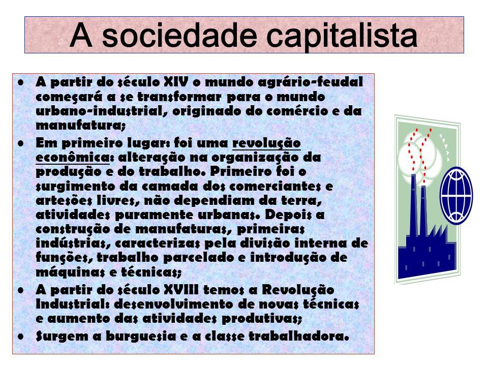 A sociedade capitalista A partir do século XIV o mundo agrário-feudal começará a se transformar para o mundo urbano-industrial, originado do comércio