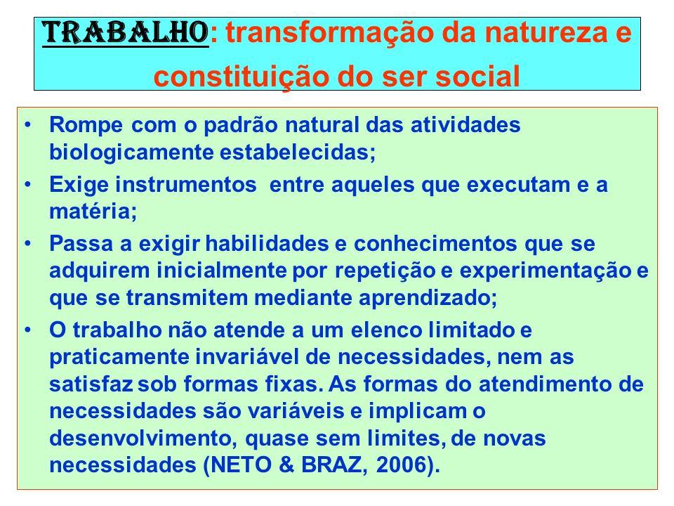 Trabalho : transformação da natureza e constituição do ser social Rompe com o padrão natural das atividades biologicamente estabelecidas; Exige instru