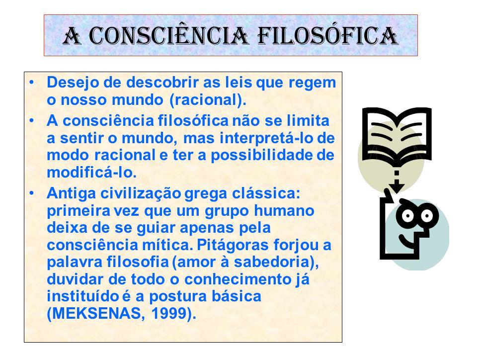 A CONSCIÊNCIA FILOSÓFICA Desejo de descobrir as leis que regem o nosso mundo (racional). A consciência filosófica não se limita a sentir o mundo, mas