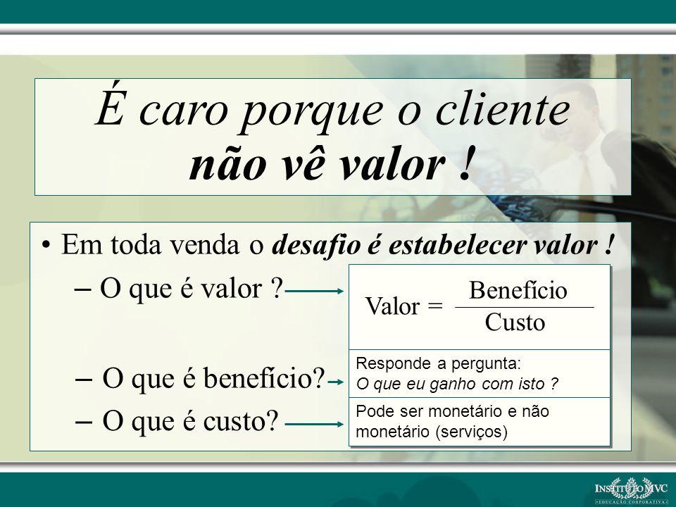 Em toda venda o desafio é estabelecer valor ! – O que é valor ? É caro porque o cliente não vê valor ! – O que é benefício? Valor = Benefício Custo Re
