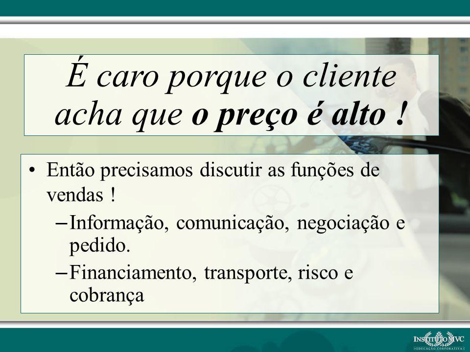 Então precisamos discutir as funções de vendas ! – Informação, comunicação, negociação e pedido. – Financiamento, transporte, risco e cobrança É caro