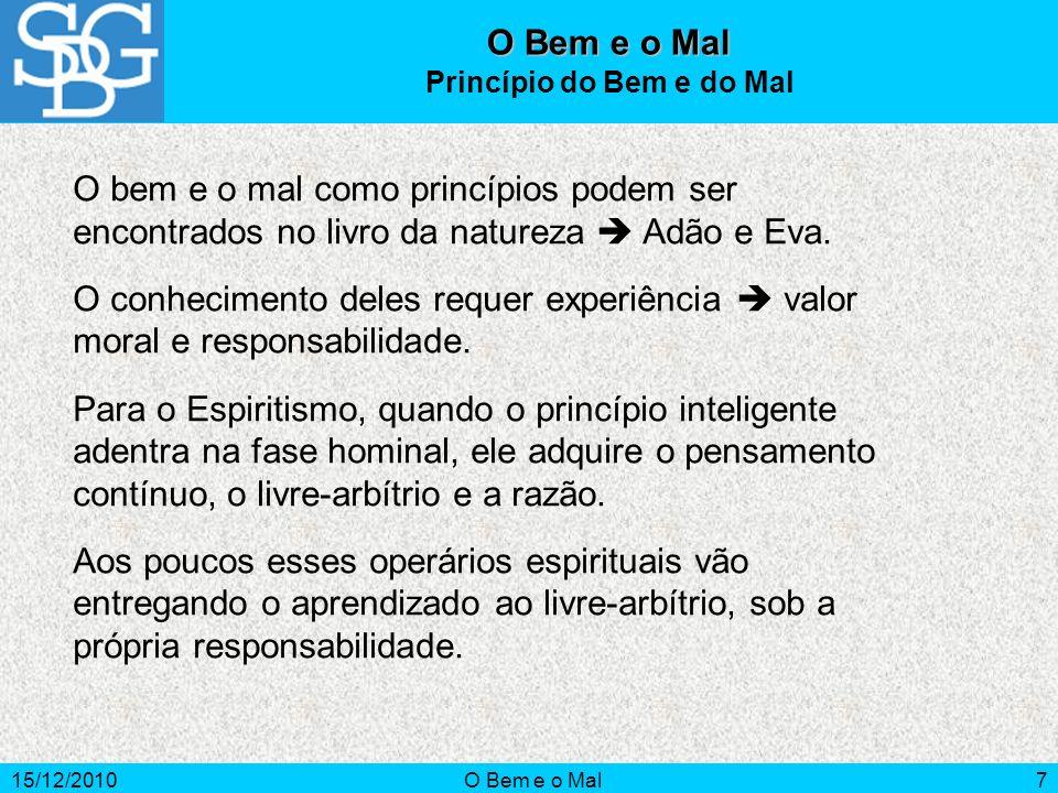 15/12/2010O Bem e o Mal8 Necessidade é a consciência de que nos falta algo.