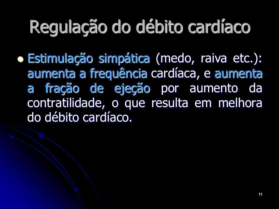11 Regulação do débito cardíaco Estimulação simpática (medo, raiva etc.): aumenta a frequência cardíaca, e aumenta a fração de ejeção por aumento da c