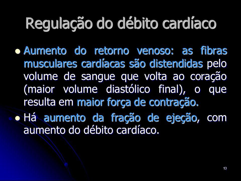13 Regulação do débito cardíaco Aumento do retorno venoso: as fibras musculares cardíacas são distendidas pelo volume de sangue que volta ao coração (
