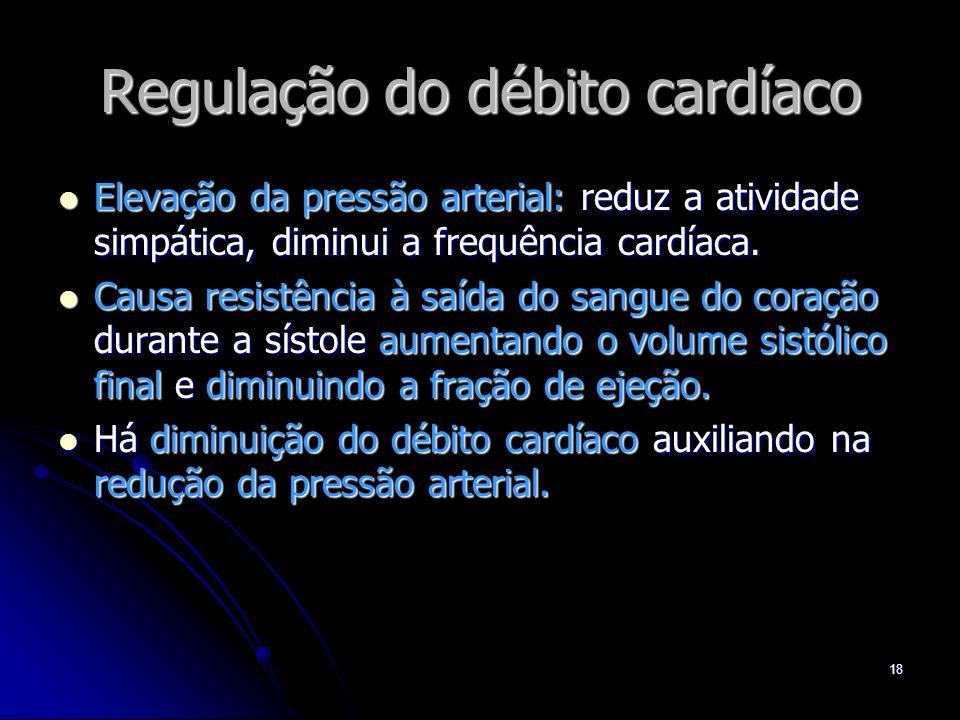 18 Regulação do débito cardíaco Elevação da pressão arterial: reduz a atividade simpática, diminui a frequência cardíaca. Elevação da pressão arterial