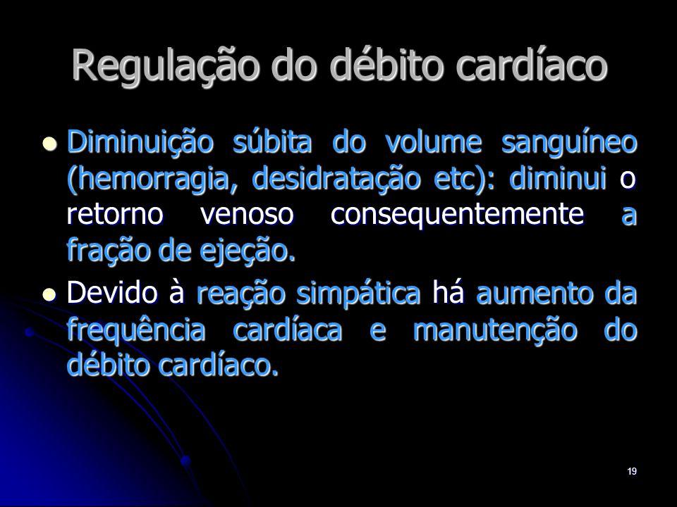 19 Regulação do débito cardíaco Diminuição súbita do volume sanguíneo (hemorragia, desidratação etc): diminui o retorno venoso consequentemente a fraç