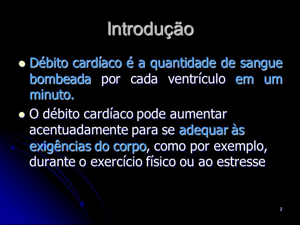 2 Introdução Débito cardíaco é a quantidade de sangue bombeada por cada ventrículo em um minuto. Débito cardíaco é a quantidade de sangue bombeada por