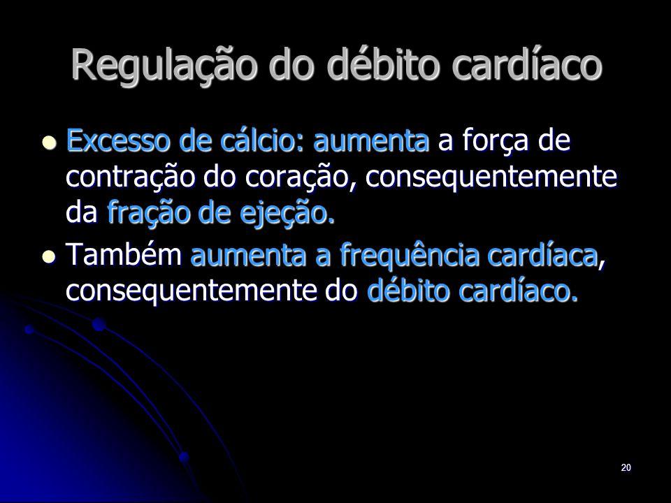 20 Regulação do débito cardíaco Excesso de cálcio: aumenta a força de contração do coração, consequentemente da fração de ejeção. Excesso de cálcio: a