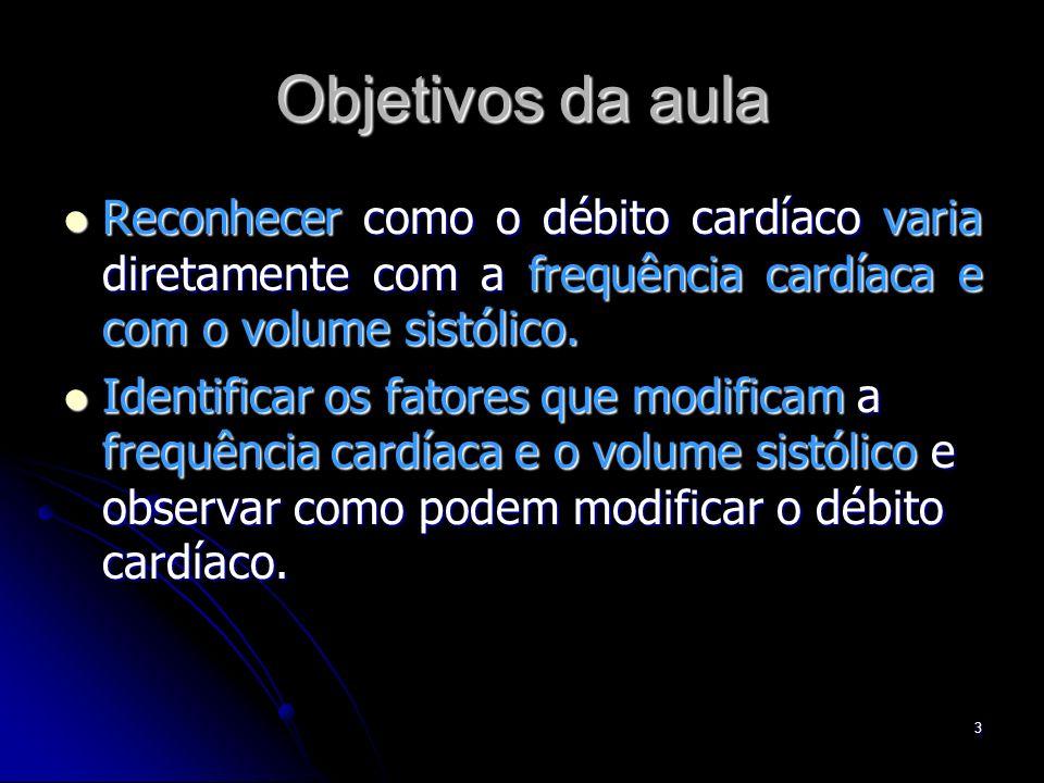 3 Objetivos da aula Reconhecer como o débito cardíaco varia diretamente com a frequência cardíaca e com o volume sistólico. Reconhecer como o débito c