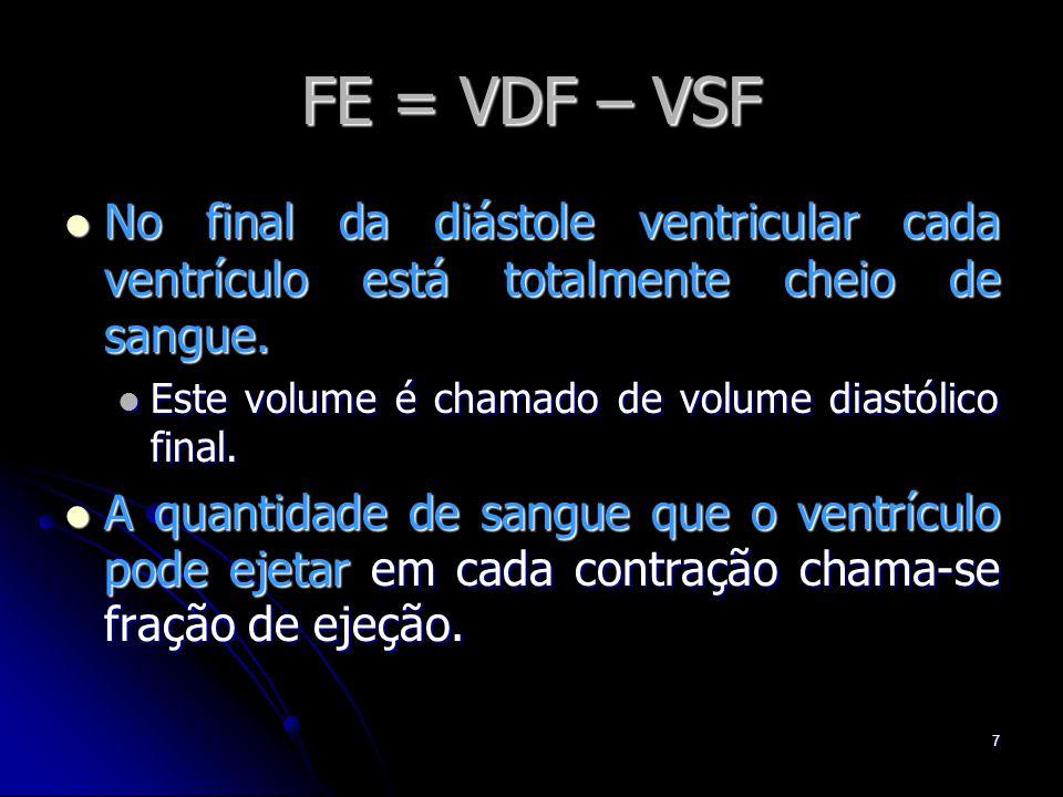 7 FE = VDF – VSF No final da diástole ventricular cada ventrículo está totalmente cheio de sangue. No final da diástole ventricular cada ventrículo es
