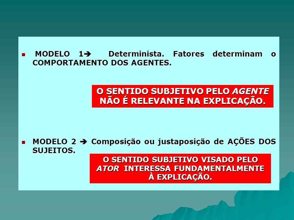 MODELO 1 Determinista. Fatores determinam o COMPORTAMENTO DOS AGENTES. MODELO 1 Determinista. Fatores determinam o COMPORTAMENTO DOS AGENTES. MODELO 2