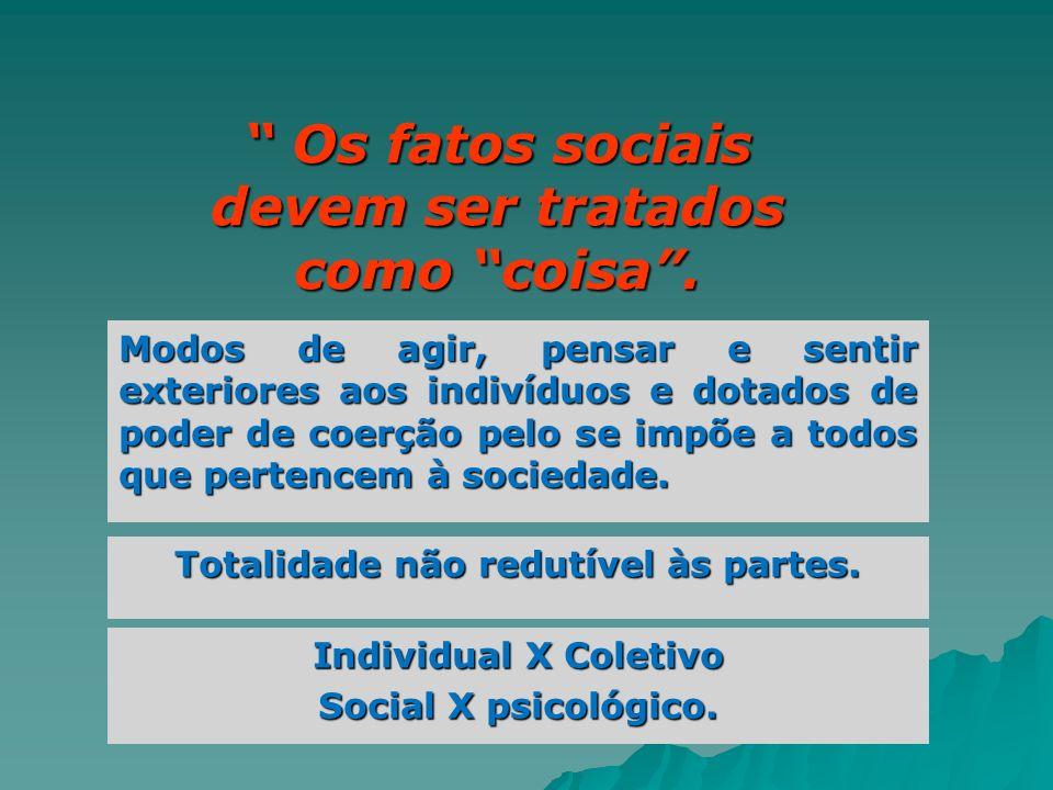 Os fatos sociais devem ser tratados como coisa. Os fatos sociais devem ser tratados como coisa. Modos de agir, pensar e sentir exteriores aos indivídu