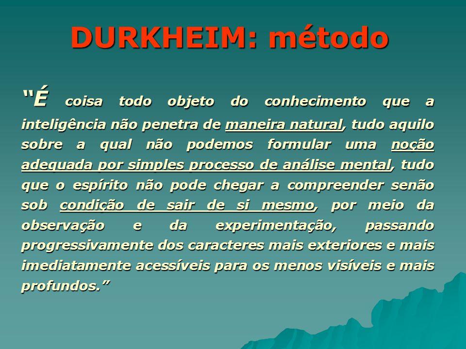 DURKHEIM: método É coisa todo objeto do conhecimento que a inteligência não penetra de maneira natural, tudo aquilo sobre a qual não podemos formular