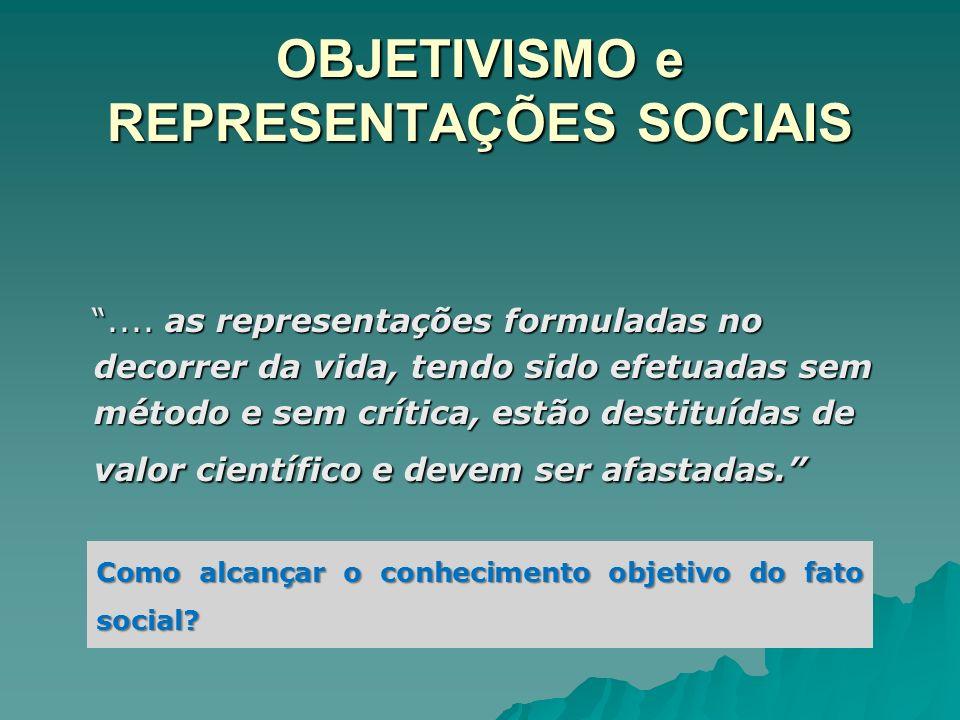 OBJETIVISMO e REPRESENTAÇÕES SOCIAIS.... as representações formuladas no decorrer da vida, tendo sido efetuadas sem método e sem crítica, estão destit